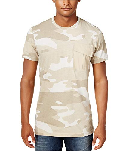 American Rag Mens Camo-Print Short Sleeves T-Shirt Beige XL