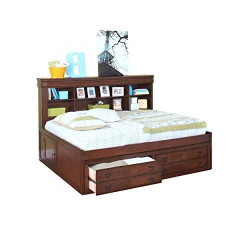 Savona Youth Full Captains Lounge Bed in Burnished Cherry - Youth Full Captain Bed