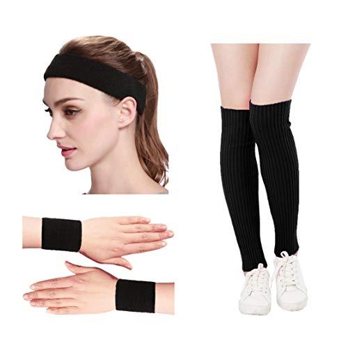KIMBERLY S KNIT Women 80s Neon Pink Running Headband Wristbands Leg Warmers Set (Free, Black) (Black Knit Leg Warmers)