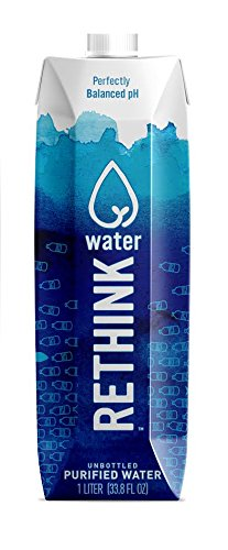 Rethink Water, Bottled Water But Better, Pure Reverse Osmosis Filtered Water in a Recyclable and Sustainable Tetra Pak Aseptic Paperboard Carton, 33.8 Ounce (1 Liter) Cartons, 12 Count