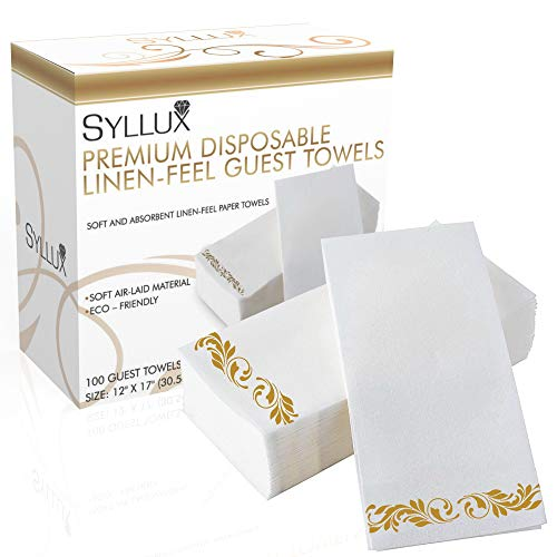 Syllux Linen-Feel Guest Towels | 100 Pack Premium Quality Towels | Christmas Guest Paper Towels | Gold Floral Disposable Paper Towels for Bathrooms, Kitchens, Parties, Weddings, Receptions