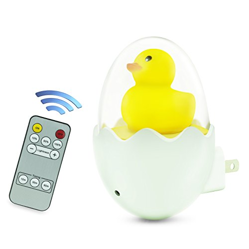 Plug in Night Light for Kids, Makion Cute Duck Nursery Night Light with Remote Brightness and Timing Control