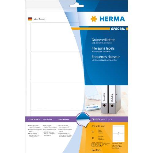 Herma 8621 Ordnerrückenetiketten (A4 Papier matt, blickdicht, 192 x 61 mm) 40 Stück weiß