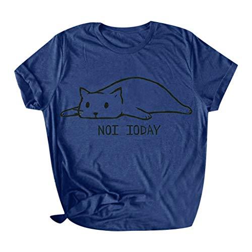 Yezijin_Women's Wear Women Casual Letter Printed Cotton Short Sleeve Cute Funny Cat T-Shirt Tops Tees Summer Casual Tank Navy ()
