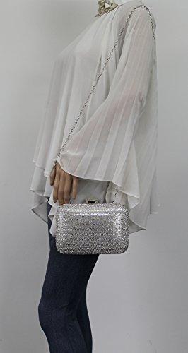 Diamante Womens Two Party Tone Silver Bag Wedding Prom Jane SWANKYSWANS Clutch Box Bqtxpw1I