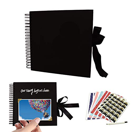 (Scrapbook Photo Album, Photo Scrapbook, Wedding Guest Book,Album with 80 Black Pages,Great for Anniversary,Valentines Day Gifts,Family Scrapbook DIY Scrapbooking Kit)