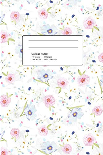 College Ruled Notebook: College Ruled, Winter Design with pastel poppies - Poppy Design | 140 College-ruled Pages | 6 x 9 - (Winter Design. - Trendy Journal, Notebook, Diary, Composition Book)