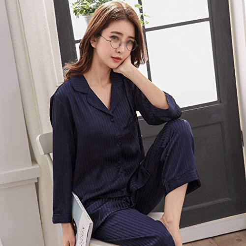 Manga Satén Gjfeng Jacquard Traje Primavera Y Metro Larga Tamaño Mujer Casa De color Solapa Azul Pijamas Para Otoño Red I4wC4qY