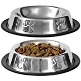 Pet Food Bowl Stainless Steel Non Skid Pet Paws Doodler Dish Is Perfect for a Small Dog Cat Kitten Puppy (2 bowls per order) By QPEY