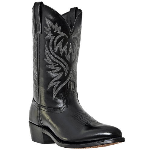 Laredo Boots Black Cowboy 12 - Laredo Mens Black Leather London 12in Sueded Outsole R Toe Cowboy Boots 12 D