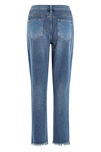 next Mujer Pantalones Vaqueros Jeans Corte Relajado Dobladillo Rasgado En Dos Paneles Azul