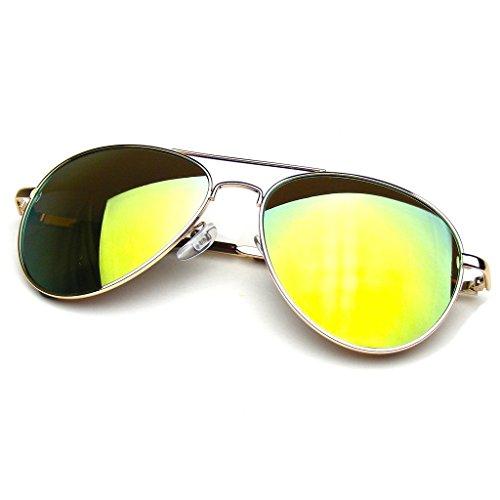 Aviator Sunglasses Mirror Lens New Men Women Fashion Frame Retro Pilot (Spring Hinge | Yellow, 0)