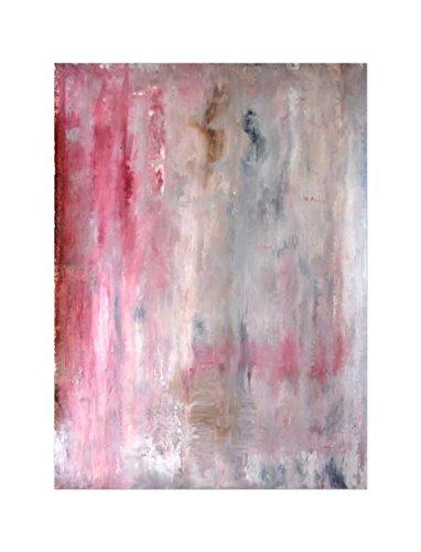 Deinebilder24 Modernes Bild - 110 x 70 cm - Rot und Beige - Abstrakte Kunstmalerei