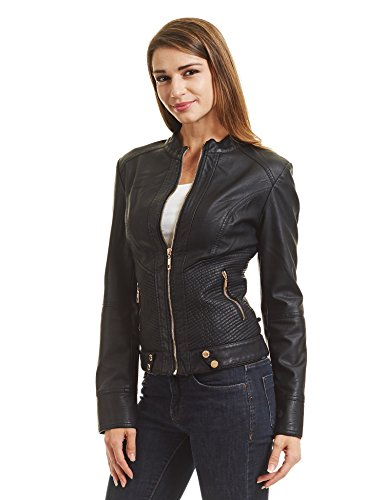 Come Together California CTC Womens Dressy Vegan Leather Biker Jacket