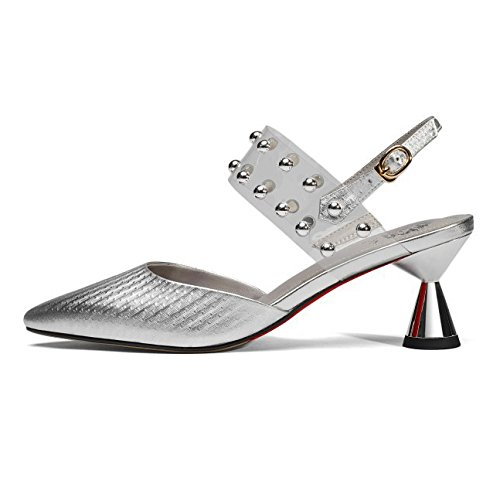 Women's Elegant Pointy Toe Pumps Slip On Kitten Heels Ankle Strap Sandals For Wedding Party Office Stiletto Shoes Silver