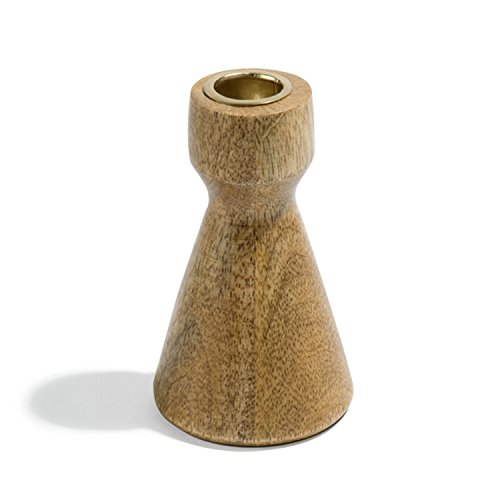 Taper Candle Holder Wood, Contemporary Hourglass Shape with Brass Details