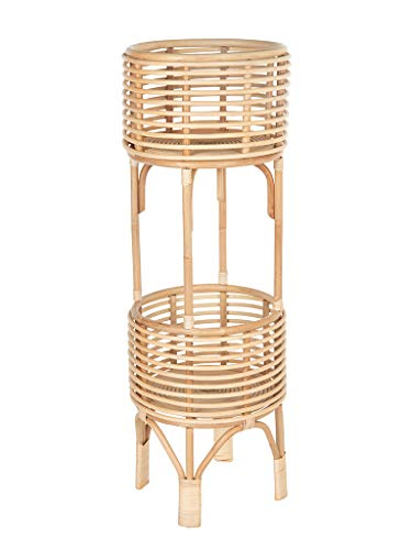(Rattan Indoor Two-Tier Plant Stand, 28 inches, Natural)