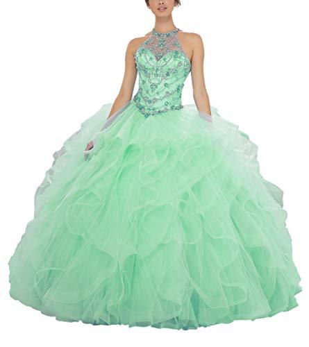 Yisha Bello Women's Crystal Beaded Quinceanera Dresses Sleeveless Organza Ruffles Ball Gowns Pro Dress 2 Green ()