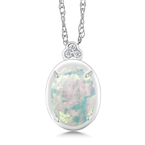 10K White Gold Diamond Accent Pendant Necklace with 18 Inch Chain Oval White Simulated Opal 0.65 (Genuine Oval Opal Pendant)