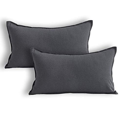 Jeanerlor Natural Cotton Linen Decorative Lumbar Throw Pillow Case Dark Grey Cushion Cover with Twin Needles Stitch on Edge,for Office/Coffee Shop/Play Room/12