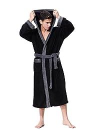 OUFANG Black Bathrobe Soft Spa Kimono Shawl Collar Hooded Long Robe Unisex
