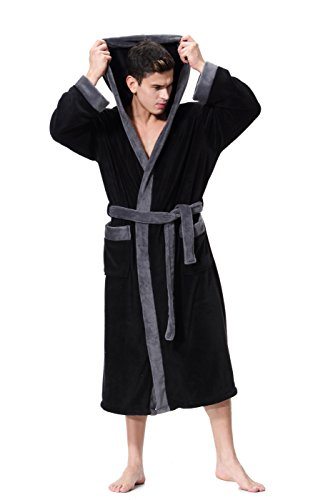 Black Bathrobe Soft spa Kimono Shawl Collar Hooded Long Robe Unisex (X-Large) - Silk Woven Belt