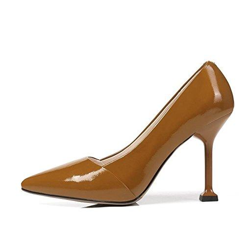45 Zapatillas Del 43 Grande 9 Talones eur42uk85 Vestir Pie Zapatos Brown Alto Estilete Tobillo Tamaño Corte Negro Dedo Señoras Fiesta Moda Puntiagudo uk Eur Nvxie Mujeres 35 w0axCq0R
