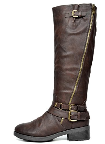DREAM PAIRS Women's Fur Lined Knee High Riding Boots (Wide Calf)