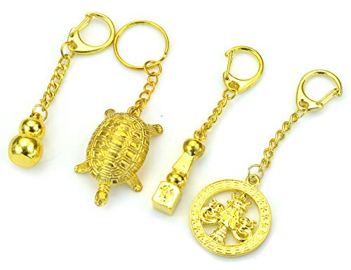 PURPLE WHALE Feng Shui Goldtone Keychain 4 Sets - Good Luck Gourd Wu Lu, 5 Element Pagoda, Longevity Turtle, Victory Banner amulets - Brings Long Life, Power, Prosperity and Protection