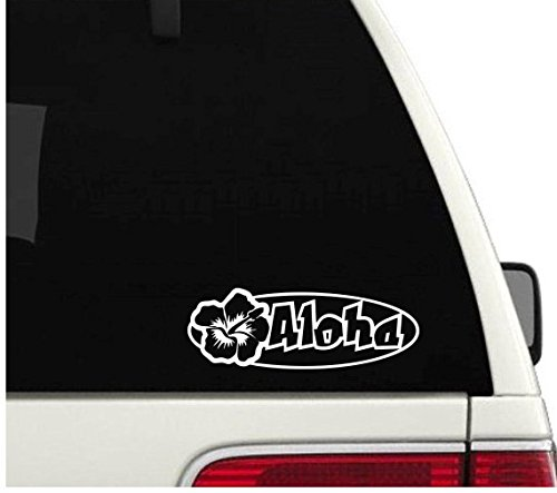 - Aloha HIbiscus Shape Hawaii - Vinyl Decal - Car Phone Helmet - SELECT SIZE