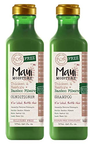 Bamboo Hair Shampoo - Maui Moisture Thicken & Restore & Bamboo Fibers Shampoo & Conditioner Set 19.5 Ounce