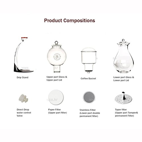GTBeans Miracle 700 Cold Brew Dutch Coffee Maker Hand Drip SET 24 oz with Tamper filter by GTBeans (Image #6)