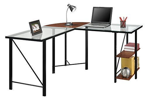 (Ameriwood Home Cruz Glass Top L Desk, Cherry)