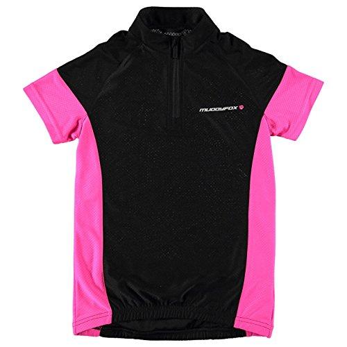 Muddyfox Kinder Meadchen Radlershirt Radsport Trikot Fahrrad T Shirt Kurzarm Black/Pink 9-10 (MG)