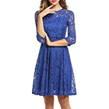 Meaneor Women's Round Neck 3 4 Sleeve Lace Mini Party Evening Cocktail Dress