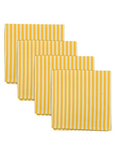 Design Imports Honey Bee Table Linens Canary Yellow Petite Stripe Cotton Napkins 20-Inch by 20-Inch, Set of 4