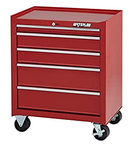 """Waterloo Shop Series 5-Drawer Tool Cabinet with Full-Extension Friction Drawer Slides and 18"""" Deep Footprint, Red Finish, 26"""" W"""