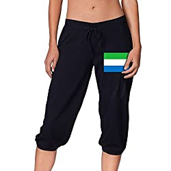 Flag Of Sierra Leone Cool Women S Cropped Trousers Casual Pants Jogger Sweatpants