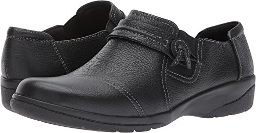 Slip Clarks Leather - Clarks Women's Cheyn Madi Loafer, Black Tumbled Leather, 10 M US