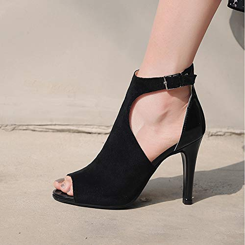 PU Spring amp; Evening Ankle Strap Heels Party Peep Fall Wedding Polyurethane Heel Microfiber ZHZNVX Shoes Toe Buckle Wine Women's Stiletto Black amp; Black tq1RnwX