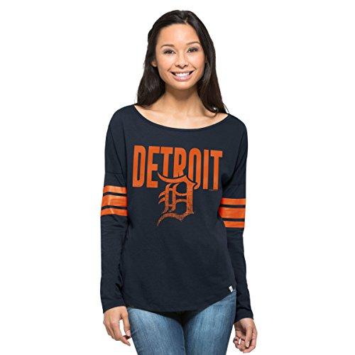 Courtside Cap - MLB Detroit Tigers Women's '47 Courtside Long Sleeve Tee, Medium, Fall Navy