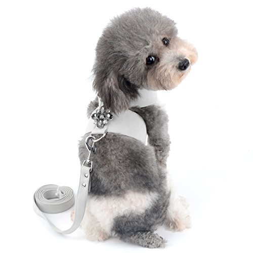 Ranphy Soft Suede Leather Bling Dog Harness with Rhinestone No Pull Vest and Leash Set Adjustable Small Dog Cat Harness for Walking Gray Size XL ()