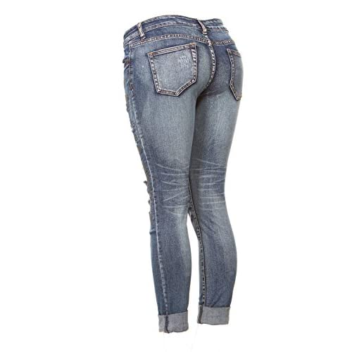 8af08c8f58a V.I.P. JEANS Ripped Distressed Patched Skinny Stretch Jeans For Women  Bottom Cuff Low Waisted Junior Sizes
