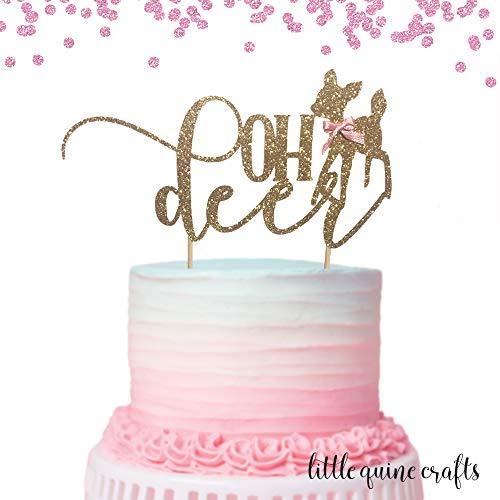 1 pc OH deer baby deer pink blue bow Gold Glitter Cake Topper for baby shower boy girl bohemian woodland animal
