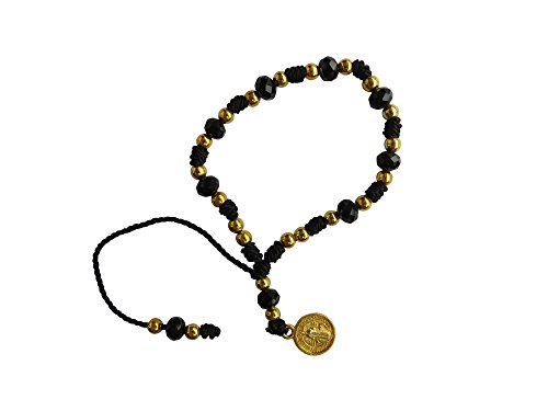 Black Thread with Cristal Beads Saint Benedict Bracelet Pulsera De San Benito