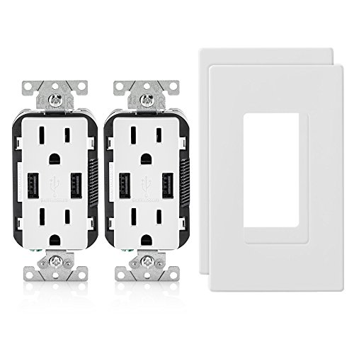 (2-Pack Leviton T5632-W 15-Amp USB Charger/Tamper Resistant Duplex Receptacle, with 2 Screwless Wallplates, White)