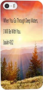 Case for Iphone 6 plus Bible Verses,Topgraph Apple iphone 6 plus Christian Quotes Hard Slim Case Cover Protector When You Go Through Deep Waters, I Will Be With You. Isaiah 43:2 Golden sunset forest