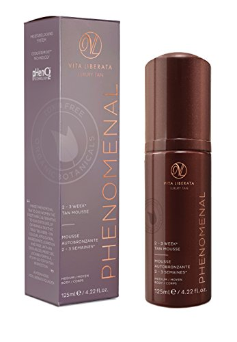 Long Lasting Sunless Tanning Mousse - VITA LIBERATA pHenomenal 2-3 Week Self Tan Organic, Natural, Vegan Tan Mousse - Long Lasting Fake Tan - Medium 4.22 fl. oz.