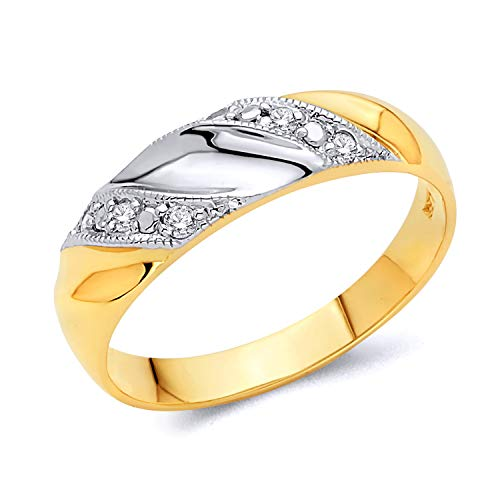 - 14k REAL Two Tone Gold SOLID Men's Wedding Band - Size 9