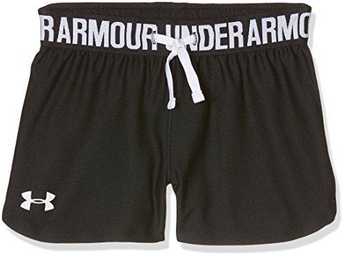 Under Armour Girls' Play Up Short Steel / Black / White YXL & Visor Bundle